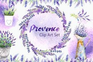 Watarcolor Provence Clip Art Set