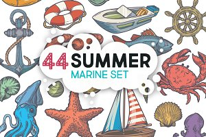 Summer marine hand drawn set