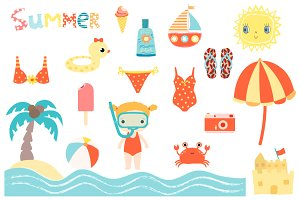 Cute summer beach clipart set