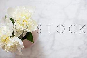 White Peonies Pink Vase Flat Lay