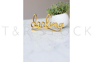 Darling script Brass Word Photo