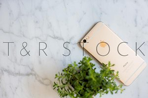 Gold Phone Marble Desktop Flat Lay