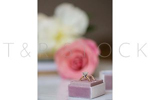 Wedding Ring Pink Rose White Peonies