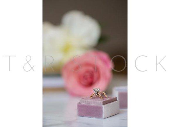 Wedding Ring Pink Rose White Peonies