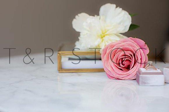 Marble Desktop Mockup Rose Peonies