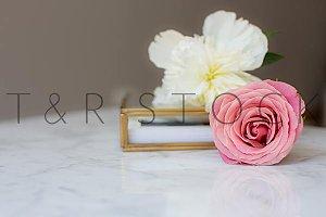 Pink Rose White Peonies Marble Desk