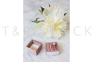 Rose Gold Wedding Ring w/ Peonies