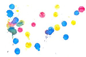Abstract red yellow blue ink splash