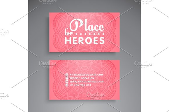 Business Card Vintage Decorative Elements Ornamental Floral Business Cards Or Invitation With Mandala