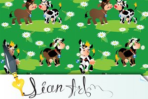 Seamless pattern with cows cartoons
