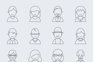 Vector line people icons