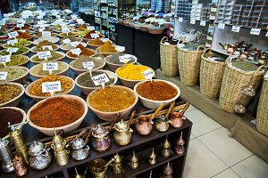 Spice shop on the market in Jerusalem .