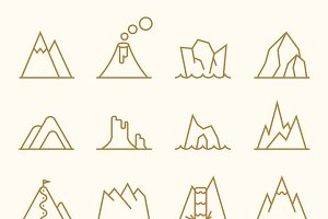Mountain line elements vector set