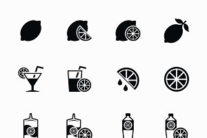 Lemon and lime vector icons set