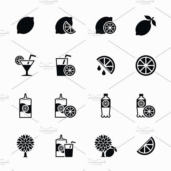 Lemon And Lime Vector Icons Set