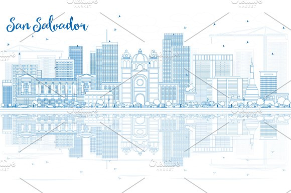 Outline San Salvador Skyline