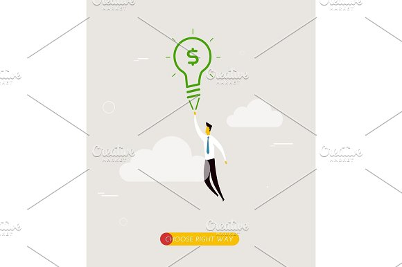 Businessman Flying On A Lamp