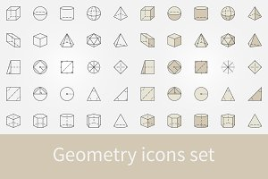 Geometry and trigonometry icons set