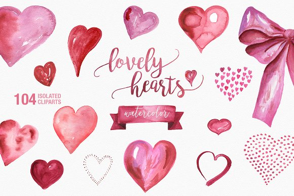 Lovely Hearts Watercolor Clipart