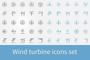 Wind turbine icons set