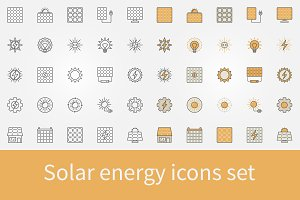 Solar energy icons set