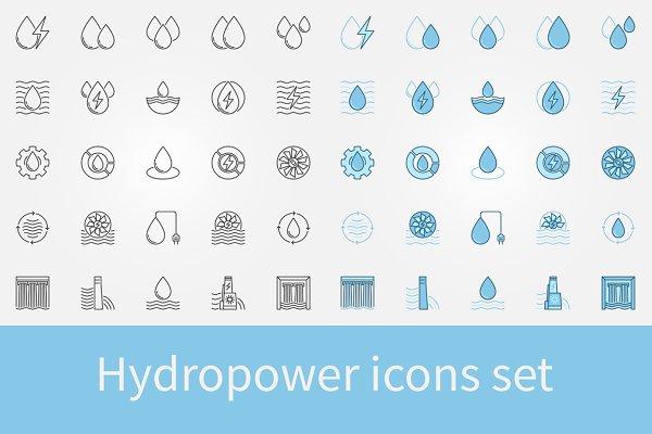 Hydropower icons set