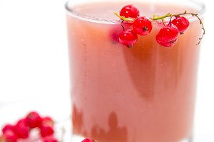 fresh juice of red currant in the glass