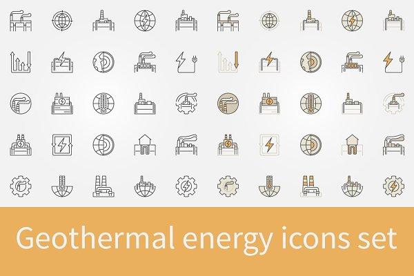 Geothermal energy icons set