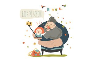 Little girl making selfie with her father. Back to school
