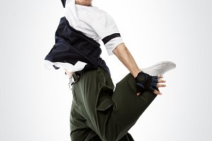 Hip-hop dancer jumping, isolated with clipping pach