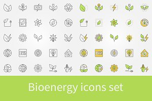 Bioenergy icons set
