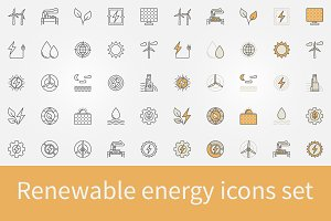 Renewable energy icons set