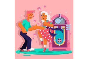 Dancing people funny cartoon style. Happy men and women move to the music. Flat vector illustration