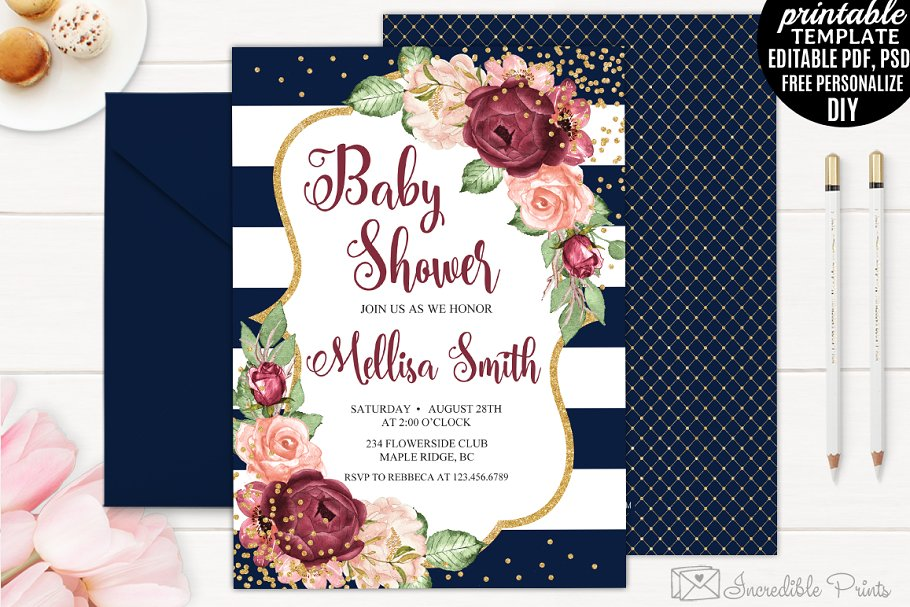 9a5ca4d7901 Navy and Gold Baby Shower Invite ~ Invitation Templates ~ Creative ...