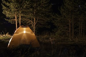 Tent in the forest at night
