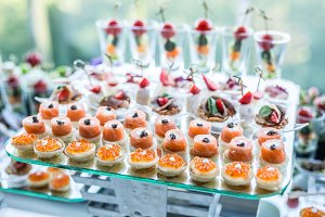 Assortment of canapes.