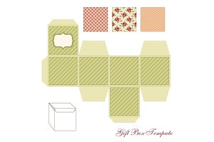 Cute retro square gift box template with shabby chic ornament to print, cut and fold