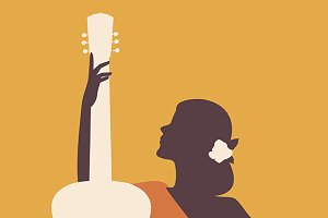Spanish woman silhouette & guitar