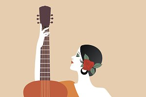Spanish woman & guitar