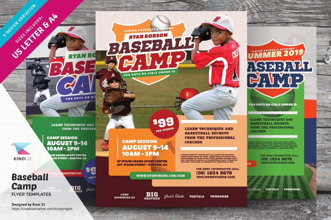 baseball camp flyer templates flyer templates creative market