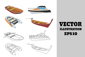 Set of Cartoon and Outline Boats.