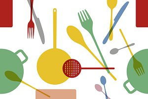 Kitchenware vector pattern