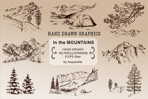 The Mountains, hand drawn graphics