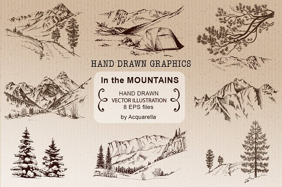 The Mountains Hand Drawn Graphics