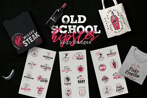 Old School Hipster Logo Badges