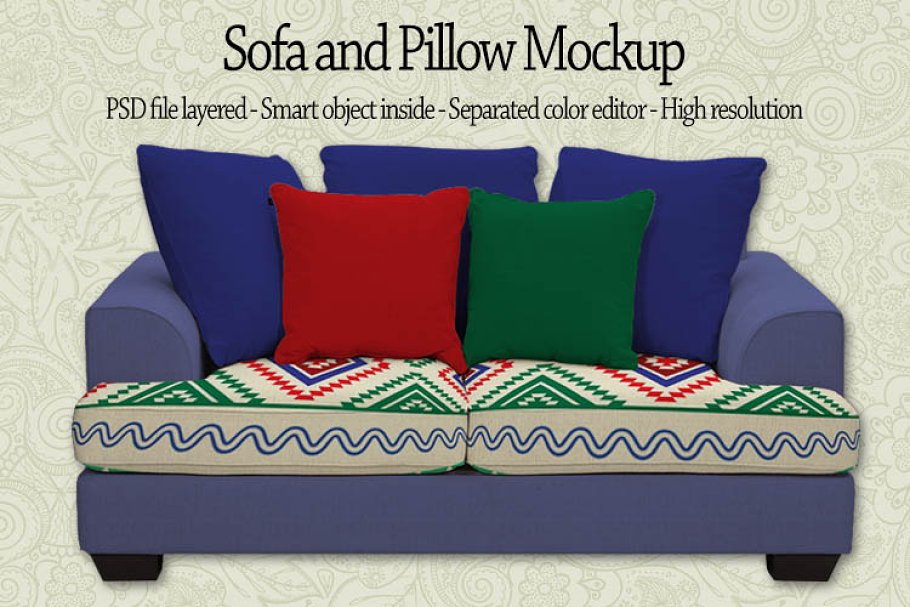 Wondrous Sofa And Pillow Mockup Product Mockups Creative Market Andrewgaddart Wooden Chair Designs For Living Room Andrewgaddartcom