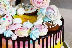 Children's cake rainbow color