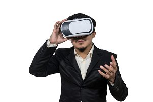 Asian Business wearing VR
