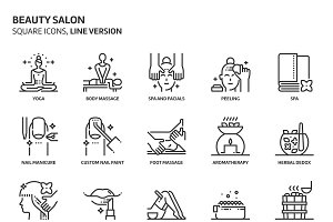 Beauty salon, square icons