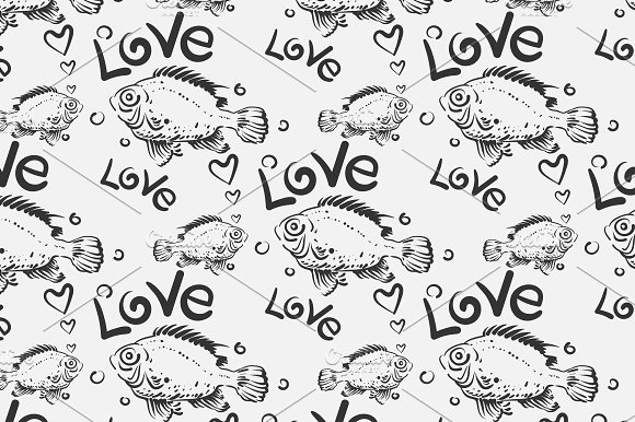 Love Fish Pattern